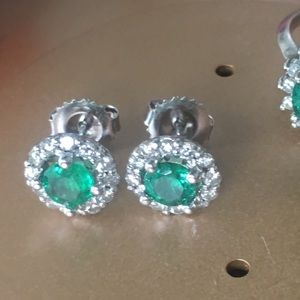 Jewelry - SOLD SET  emerald & diamond halo earrings